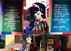 Questo progetto ha un nome ed è NINA. Nina è stata ideata e realizzata dallo street artist Solo, dai Pittori Anonimi Trullo e da noi PdT. I Pittori hanno colorato in modalità cubo-di-rubik la Porta di BrandeTrullo, sostenendo con raggi di colore Nina Piangente. Solo ha passato ore su una scala di altezza indefinita con pennello in mano per darle forma, colore, vita. Il calligrafo Daniele Tozzi [https://www.behance.net/danieletozzi] ha prestato la sua abile mano ai nostri versi. Noi abbiamo dedicato a Ninetta una poesia. Ringraziamo tutti i residenti, anziani, genitori, ragazzini che passando ci hanno sostenuto. Ringraziamo Andrea di Trasformazioniurbane per la compagnia evergreen. L'opera si trova tra Via Massa Marittima e Via del Trullo, angolo con Via Sarzana. E non è la prima, e non sarà l'ultima. Push the Poetry: sui muri, nelle vie, in tutte le periferie. PdT