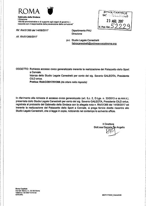 Risposta Gabinetto della Sindaca del 23..08.2017  clicca sull'immagine per consultare il documento integrale