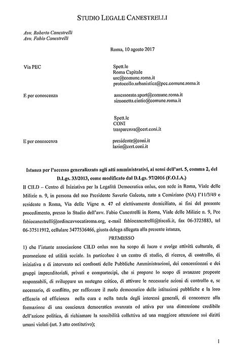 Istanza accesso atti Palazzetto Sport Corviale del 10.08.2017  clicca sull'immagine per consultare il documento integrale